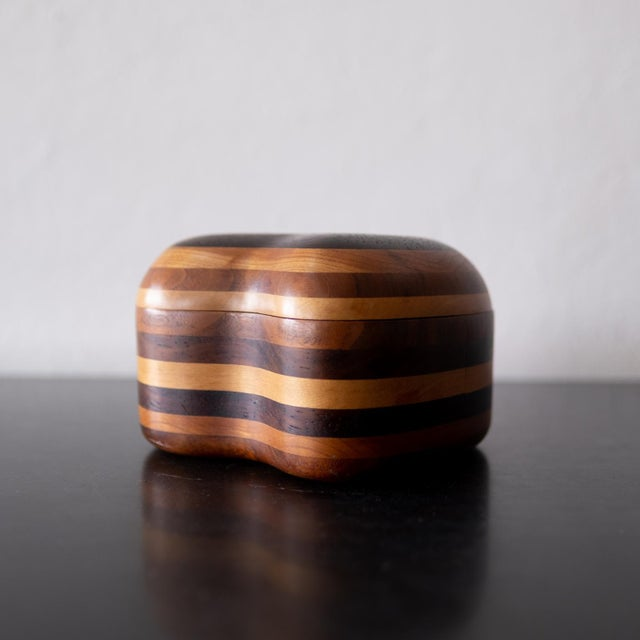 1960s handcrafted multi-wood jewelry box. Fine craftsmanship and detailing.