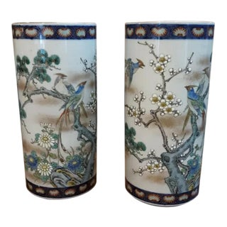 Late 19th Century Antique Japanese Fukagawa Imari Cylinder Vases- A Pair For Sale