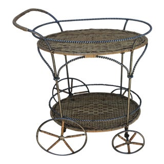Wicker and Metal Bar Cart For Sale