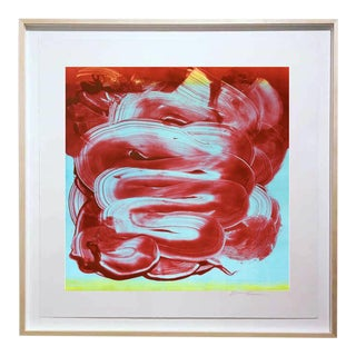"""Duo Red"" Original Monotype on Rives Bfk Paper Print by Karen J Revis For Sale"