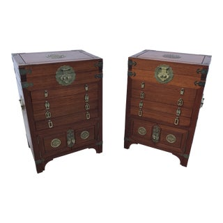 Asian Style Mahogany Cabinets-a Pair For Sale