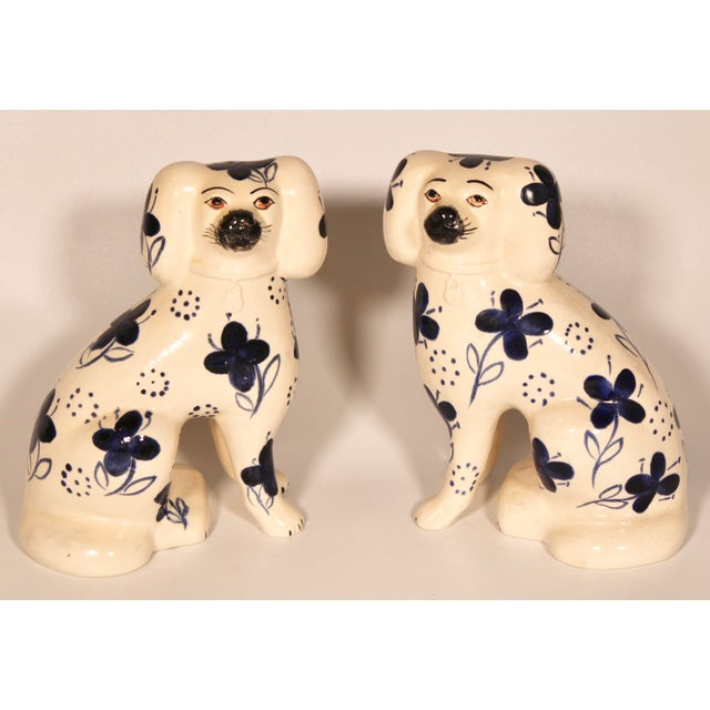 Ceramic Antique Blue and White Staffordshire Dogs - a Pair For Sale - Image 7 of 12