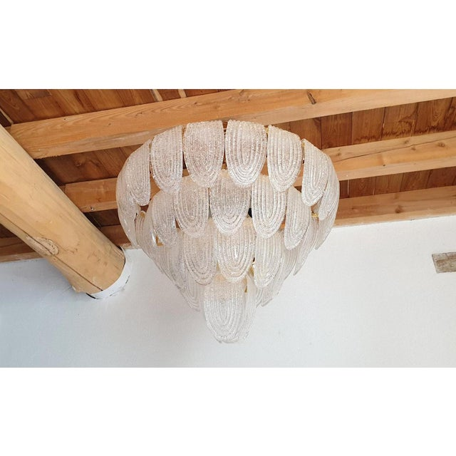 Large Mid Century Modern Clear Murano Glass Chandelier, Mazzega Style, Italy 1970s For Sale - Image 6 of 11