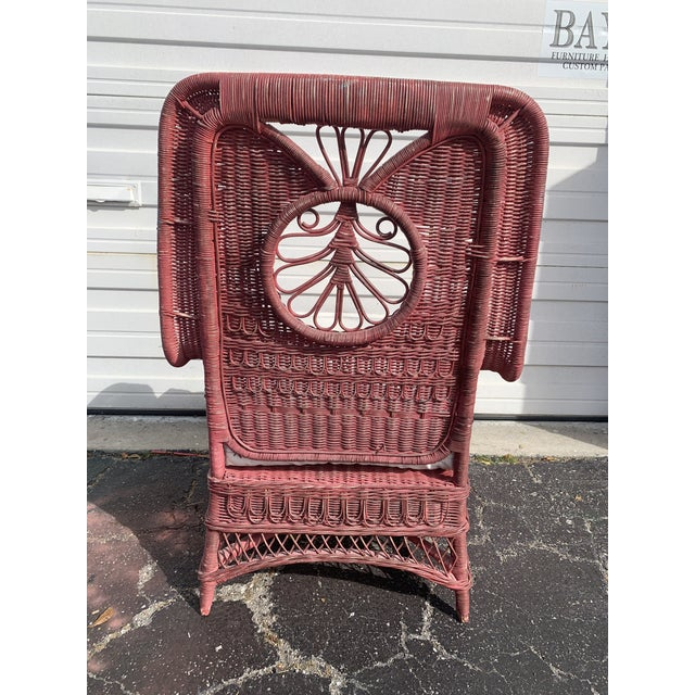 Raspberry Red Polo Ralph Lauren Wicker Chair For Sale - Image 8 of 13