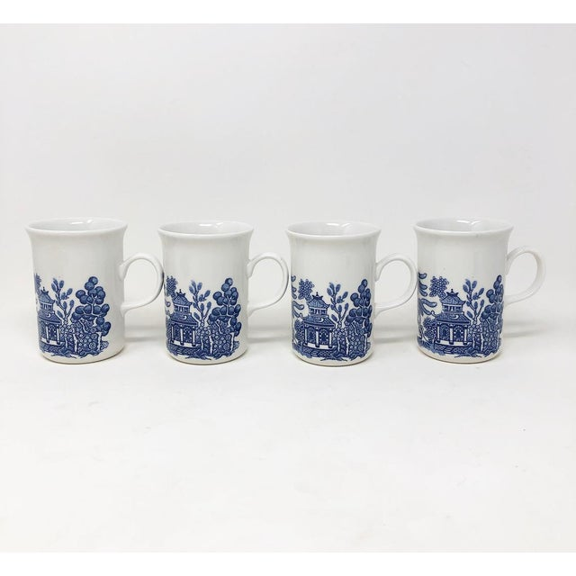 Chinoiserie Vintage Blue Willow Coffee Mugs - Made in England - Set of 4 For Sale - Image 3 of 8