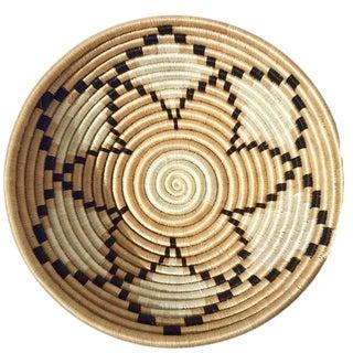 African/Rwandan Tan Grass and Sisal Woven Basket