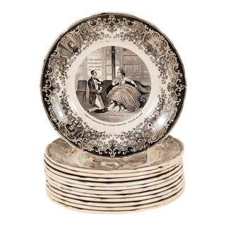 Vintage French Digoin & Sarreguemines Plates - Set of 12 For Sale