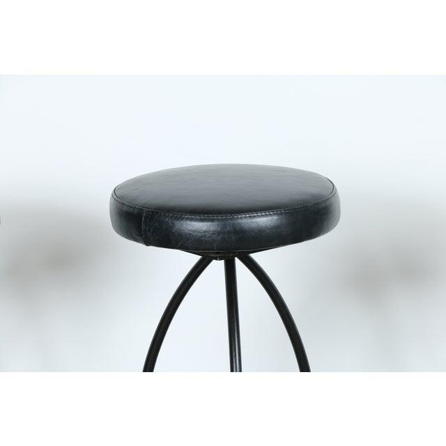 Wrought Iron Leather Seat Bar Stools - Set of 3 - Image 4 of 11