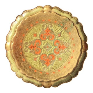 Florentine Hand-Painted & Parcel-Gilt Round Tray With Filigree For Sale