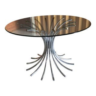 Vintage Italian Chrome and Glass Dining Table For Sale