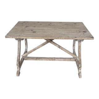 French Pine Bleached Console Table For Sale
