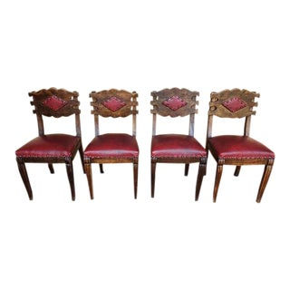 1940s Spanish Colonial Red Faux Leather Oak Dining Chairs - Set of 4 For Sale