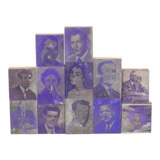 Collection of Purple Typeset Portrait Print Blocks C.1960 For Sale