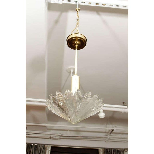Transparent Brass and Glass Pendant Lights - A Pair For Sale - Image 8 of 9
