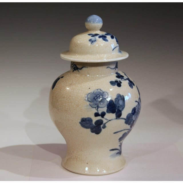 Antique Chinese porcelain blue and white jar and cover, 19th/Early 20th century. Decorated with a finely painted scene of...
