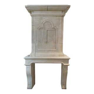 Hand Carved Limestone with Trumeau For Sale