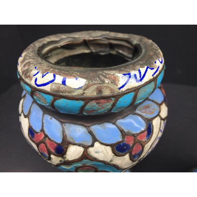 Metal Ancient Islamic Syrian Enameled Copper Vessels - a Pair For Sale - Image 7 of 11