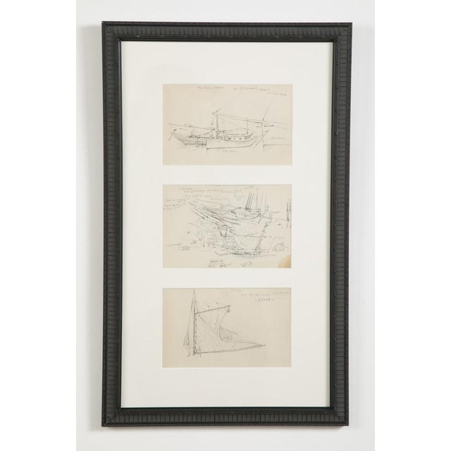"Paper Reynolds Beal ""Sail Boats and Fishing Boats"" Pencil Sketches - a Pair For Sale - Image 7 of 13"