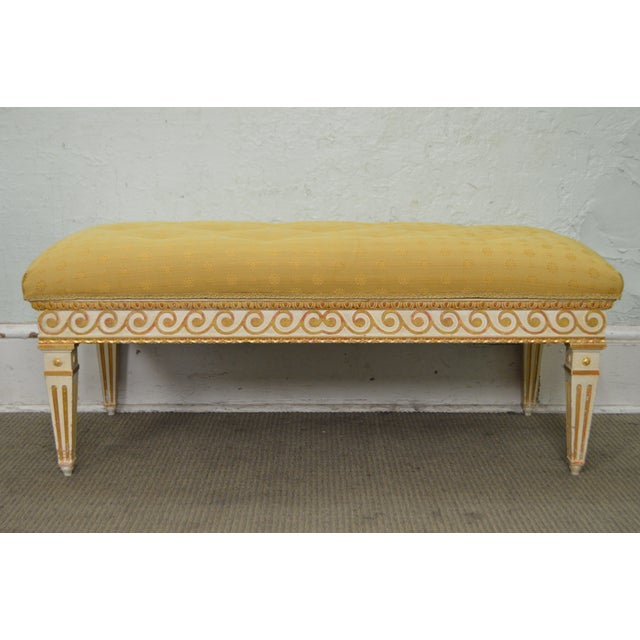 Vintage Regency Style Gilt Painted Wood Tufted Window Bench For Sale - Image 5 of 10