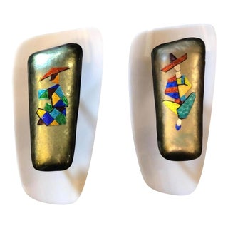 1960s Paolo De Poli Mid-Century Modern Enamel on Copper Wall Sconces - a Pair For Sale