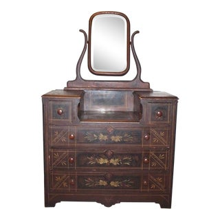1900s Antique White Furniture Co Victorian Floral Pinewood Dresser and Mirror For Sale