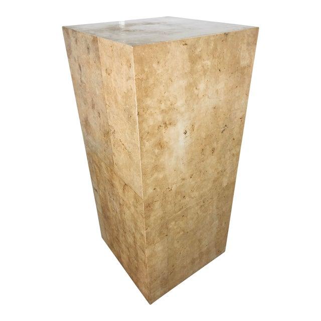Karl Springer Style Decorative Parchment Display Pedestal For Sale