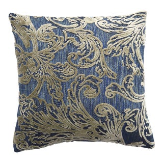 FirmaMenta Italian Blue and Gray Leaf Botanical Damask Velvet Pillow For Sale