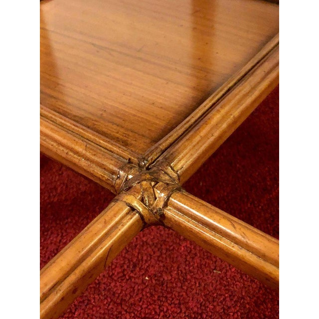 Maitland Smith Bamboo Form Octagon Shaped End / Lamp Table With Bevelled Glass For Sale - Image 10 of 13