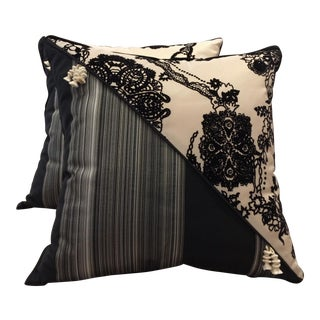 DWM | MALOOS Contemporary Dia Noire Flocked Pillows - a Pair For Sale