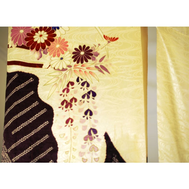 Vintage Silk Traditional Furisode Kimono - Image 7 of 9