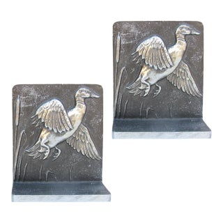 1960s Bruce Fox Silver / Pewter Bookends, Pair For Sale