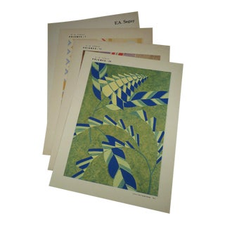 "1931 Authentic e.a. Seguy ""Prismes"" French Art Deco Pochoir Prints - Set of 3 For Sale"