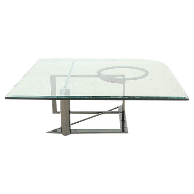 Modernist Glass & Chrome Coffee Table - Image 1 of 6