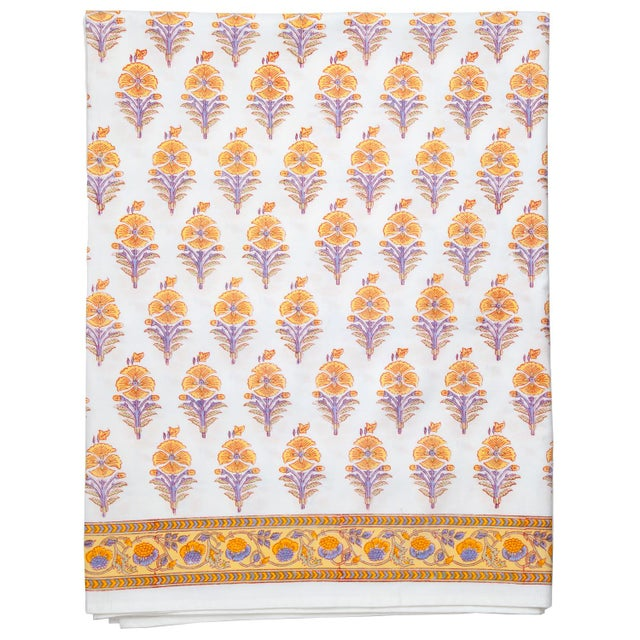 Contemporary Juhi Flower Fitted Sheet, King - Yellow For Sale - Image 3 of 3