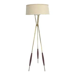 Gerald Thurston for Lightolier, Brass Tripod Floor Lamp For Sale