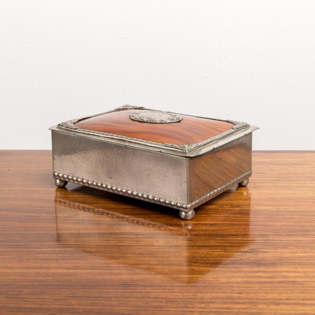 Red 1940s Danish Modern Jewelry Box With Balled Feet For Sale - Image 8 of 8