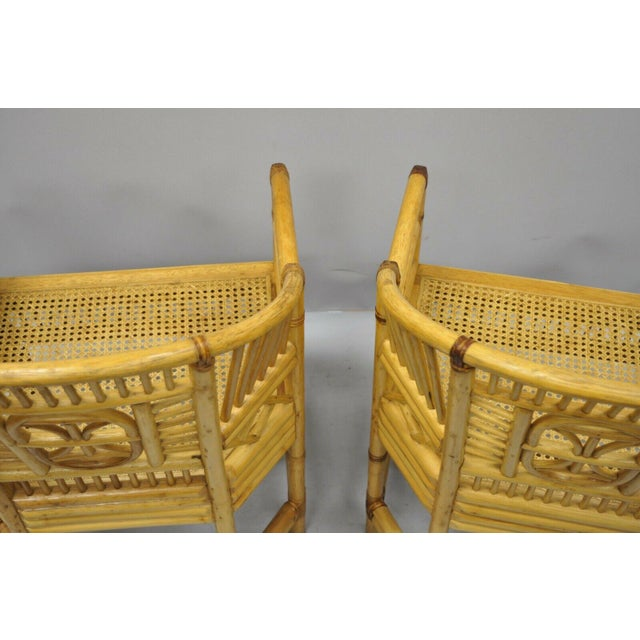 Bamboo Vintage Brighton Pavilion Style Bamboo & Cane Rattan Arm Chairs - A Pair For Sale - Image 7 of 12