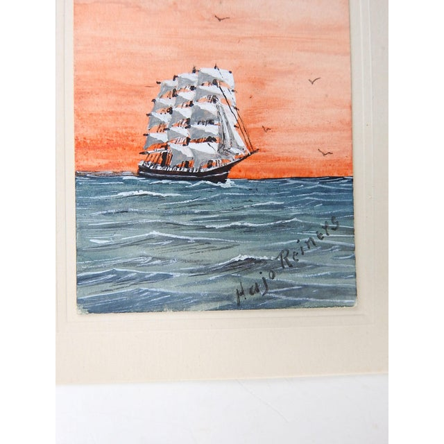 Nautical Tiny Sailing Ship at Sunset Watercolor Painting For Sale - Image 3 of 4
