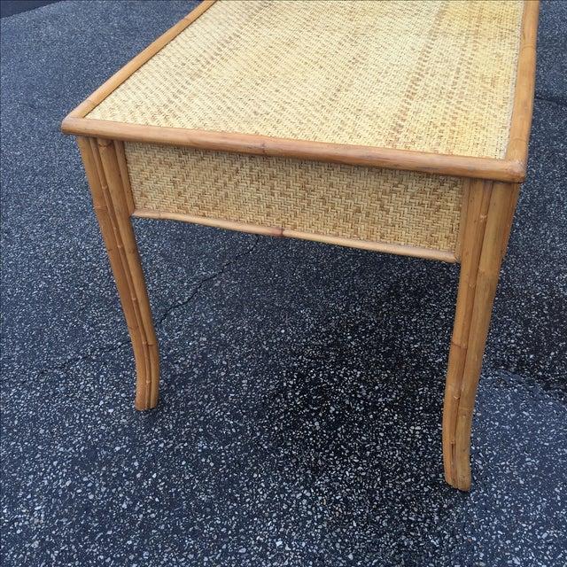 Vintage Island Bamboo Rattan Writing Desk - Image 4 of 11