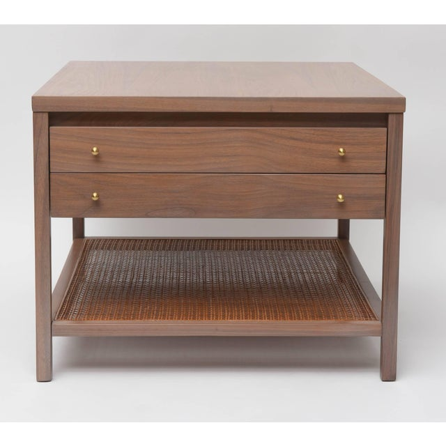 "Large side table by Paul McCobb for Calvin. We've re-finished the walnut frame in our signature ""greige"", and left the..."
