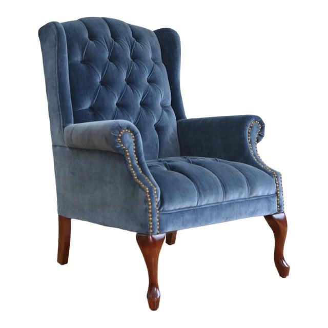 Vintage Blue Navy Tufted Velvet Wingback Chair For Sale