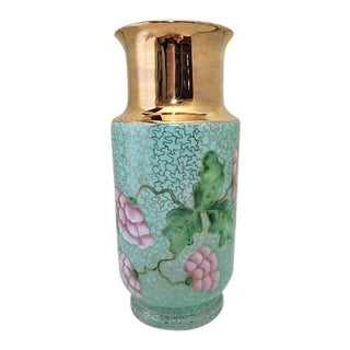 1950's Hollywood Regency Jaeger Bavaria Porcelain & Gold Overlay Vase For Sale
