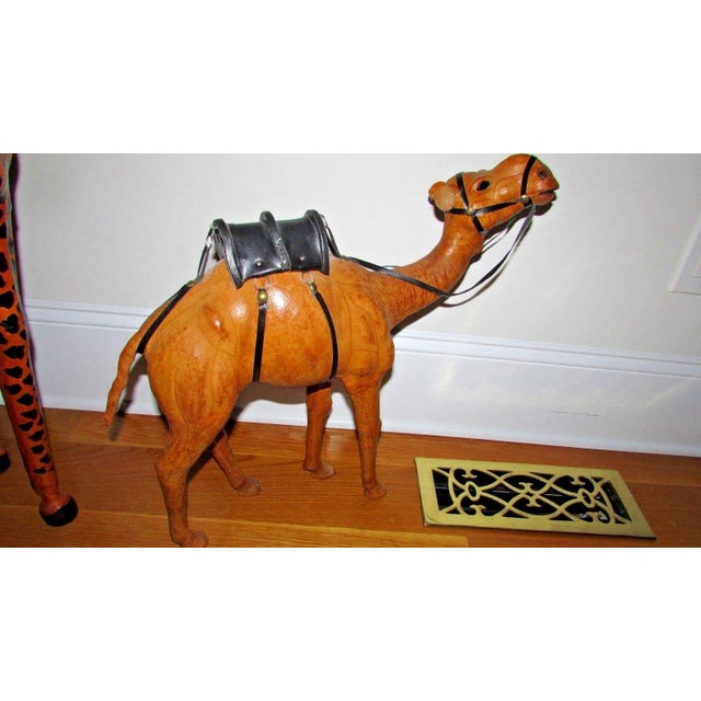Orange Handcrafted Leather Wrapped Paper Mache Giraffe and Camel - Set of 2 For Sale - Image 8 of 12