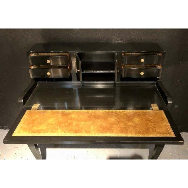 Wood Hollywood Regency Ebony Ladies Desk Louis XV Style Stamped Jansen For Sale - Image 7 of 13