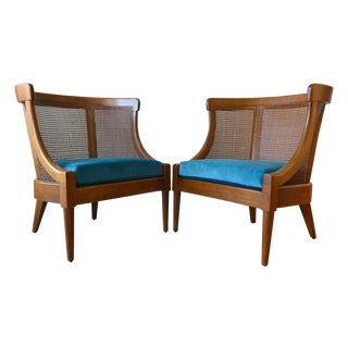 Walnut and Cane Barrel Back Chairs - A Pair For Sale