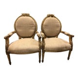 Image of 19th Century Round Louis XVI French Arm Chairs - a Pair For Sale