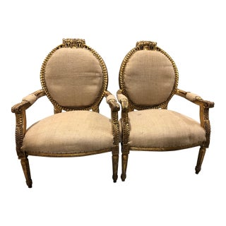 19th Century Round Louis XVI French Arm Chairs - a Pair For Sale