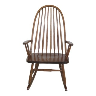 Amish Oak Windsor Style Armed Rocker Rocking Chair For Sale