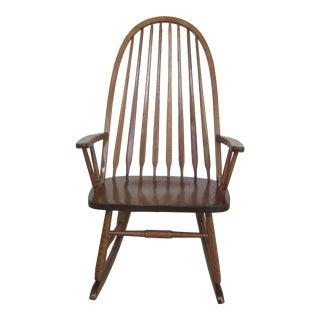 Amish Oak Windsor Style Armed Rocker Rocking Chair For Sale