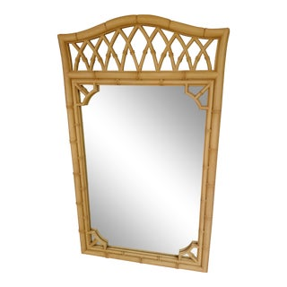 Boho Chic Thomasville Faux Bamboo Mirror For Sale